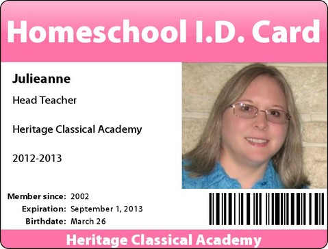 Free customized homeschool i d cards joy in our journey for Homeschool id template